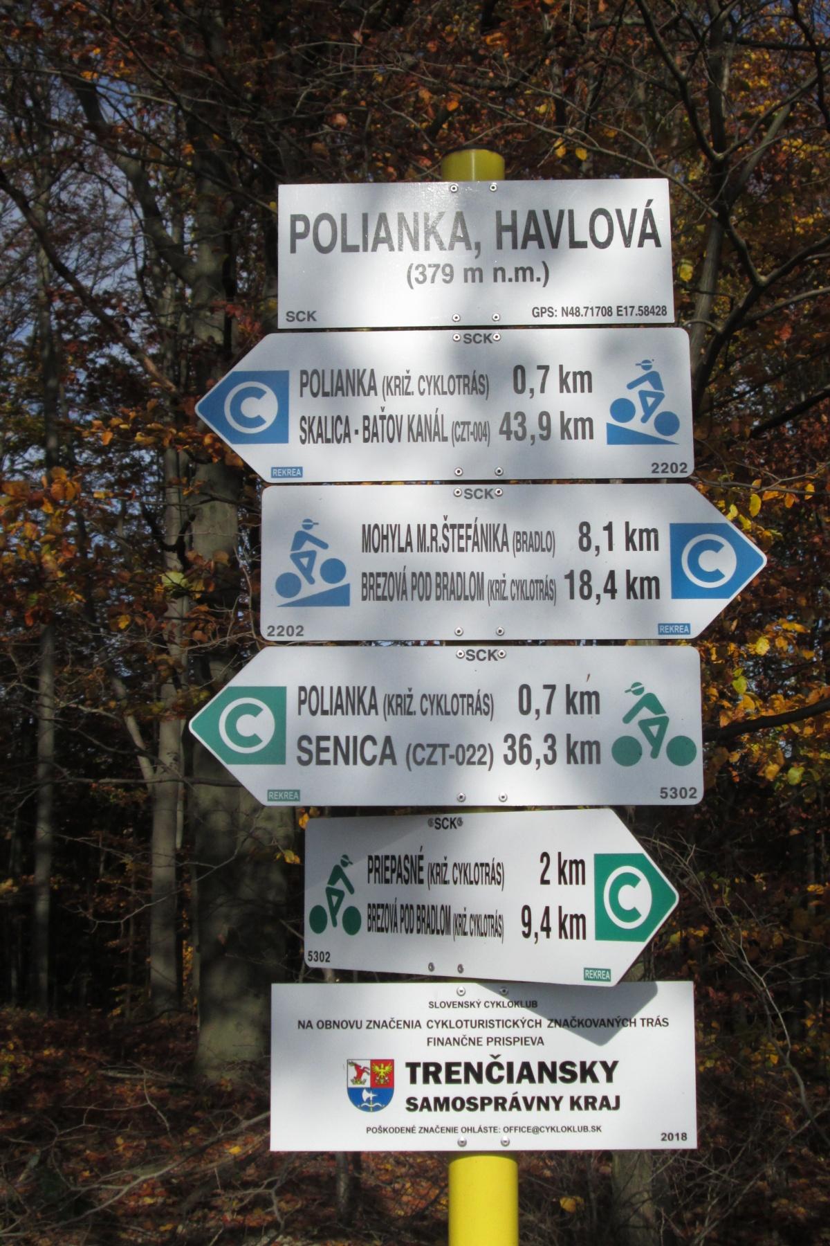 Rozcestník s kilometráží
